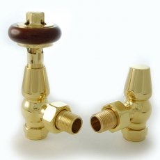 West Faringdon TRV Thermostatic Radiator Valves Pair and Lockshield Angled Brass