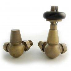 West Faringdon Corner Thermostatic Radiator Valves Pair and Lockshield - Old English Brass