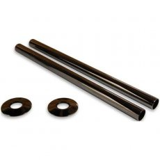 West 300mm Radiator Valve Pipe Sleeve Kit, Pair, Black Nickel
