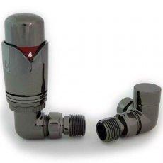 West Realm TRV Thermostatic Radiator Valves Pair Wheel-head and Lockshield Corner - Black Nickel