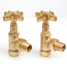 West Westminster Crosshead Angled Radiator Valves, Pair, Unlacquered Brass