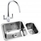 Abode Matrix 1.5 LH Bowl Kitchen Sink with Astral Sink Tap 572mm L x 450mm W - Stainless Steel