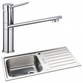 Abode Neron 1.0 Bowl Inset Kitchen Sink with Specto Sink Tap 1000mm L x 500mm W - Stainless Steel