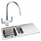 Abode Neron 1.5 Bowl Inset Kitchen Sink with Astral Sink Tap 1000mm L x 500mm W - Stainless Steel