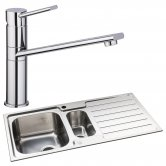Abode Neron 1.5 Bowl Inset Kitchen Sink with Specto Sink Tap 1000mm L x 500mm W - Stainless Steel