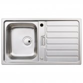 Abode Neron Compact 1.0 Bowl Inset Kitchen Sink 860mm L x 500mm W - Stainless Steel