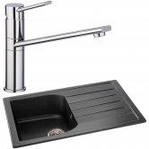 Abode Oriel 1.0 Bowl Granite Inset Kitchen Sink with Specto Sink Tap 780mm L x 480mm W - Black