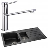 Abode Oriel 1.5 Bowl Granite Inset Kitchen Sink with Specto Sink Tap 950mm L x 480mm W - Black