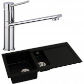 Abode Xcite 1.5 Bowl Granite Kitchen Sink with Specto Sink Tap 1000mm L x 500mm W - Black Metallic