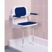 AKW 2000 Series Fold Up Shower Seat with Back & Arms Blue