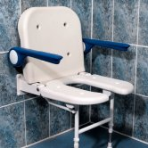 AKW 4000 Series Extra Wide Fold Up Horseshoe Seat with Back and Arms - White Unpadded
