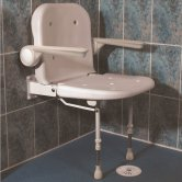 AKW 4000 Series Standard Fold Up Shower Seat Unpadded Seat and Back - Grey Padded Arm