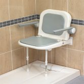 AKW 4000 Series Standard Fold Up Shower Seat Grey with Back & Grey Arms