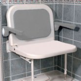 AKW 4000 Series Extra Wide Fold Up Shower Seat with Back and Arms - White Unpadded