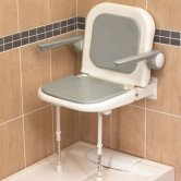 AKW 4000 Series Extra Wide Fold Up Shower Seat Grey with Back & Grey Arms