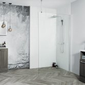Aquadart 8 Walk-In Wet Room Panel 1600mm Wide - 8mm Clear Glass
