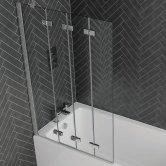 Aquadart Venturi 6 Frameless Four Folding Bath Screen 1500mm H x 965mm W Left Handed - 6mm Glass