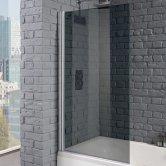 Aquadart Venturi 8 Square Edge Bath Screen 1400mm H x 800mm W - 8mm Smoked Glass