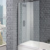 Aquadart Venturi 8 Square Edge Hinged Bath Screen 1400mm H x 800mm W - 8mm Clear Glass