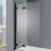 Aquadart Venturi 8 Black Frame Hinged Bath Screen 1500mm H x 1000mm W - 8mm Glass