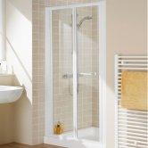 Aqualux AQUA 4 Bi-Fold Shower Door 760mm Wide White Frame - Clear Glass