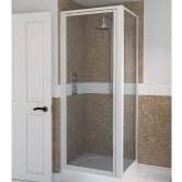 Aqualux AQUA 4 Pivot Door Shower Enclosure 760mm x 760mm White Frame - Clear Glass