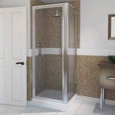 Aqualux AQUA 4 Pivot Door Shower Enclosure 760mm x 760mm Silver Frame - Clear Glass