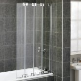 Aqualux AQUA 6 4-Fold Bath Screen, 850mm Wide, Silver Frame, Clear Glass