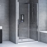 Aqualux AQX 6 Sliding Shower Door 1600mm Wide Silver Frame 6mm Glass