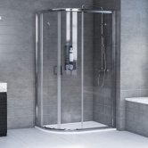 Aqualux AQX 6 Offset Quadrant Shower Enclosure 1000mm x 800mm Silver Frame 6mm Glass