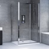 Aqualux AQX 6 Sliding Door Shower Enclosure 1000mm x 800mm Silver Frame - 6mm Glass