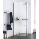 Aqualux Origin Walk-In Shower Panel with Splash Panel Kit 700mm Wide - 8mm Clear Glass