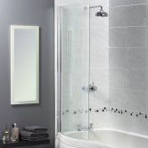 Aqualux Shine 6 Half-Frame Curved Bath Screen 1500mm H x 720mm W - 6mm Glass