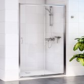Aqualux Shine 6 Sliding Shower Door 1400mm Wide Silver Frame - Clear Glass