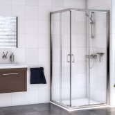 Aqualux Shine 6 Corner Entry Shower Enclosure 800mm x 800mm Silver Frame - Clear Glass