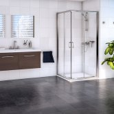 Aqualux Shine 6 Corner Entry Shower Enclosure 900mm x 900mm Silver Frame - Clear Glass