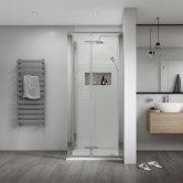 Aqualux Shine 8 Semi Frameless Bi-Fold Shower Door 800mm Wide Silver Frame - 8mm Glass