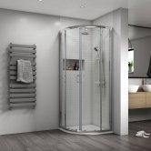 Aqualux Shine 8 Quadrant Shower Enclosure 800mm x 800mm Silver Frame - 8mm Glass