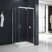 Aquashine Corner Entry Shower Enclosure 1000mm x 1000mm - 6mm Clear Glass