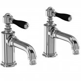 Arcade Basin Pillar Taps Pair with Black Handle - Chrome
