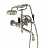 Arcade Wall Mounted Bath Shower Mixer Tap with Matt Black Lever - Nickel