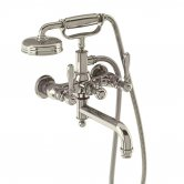 Arcade Wall Mounted Bath Shower Mixer Tap with Brass Lever - Nickel