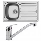 Arley 1.0 Bowl Kitchen Sink 860mm L x 500mm W with Sink Mixer Tap and Waste - Stainless Steel