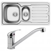 Arley 1.5 Bowl Kitchen Sink 1000mm L x 500mm W with Sink Mixer Tap and Waste - Stainless Steel