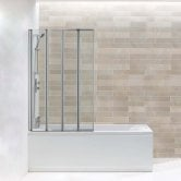 Arley Hydro Four Panel Folding Square Bath Screen 1400mm High x 800mm Wide - 4mm Glass