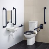 Armitage Shanks Contour 21+ Doc M Pack with Close Coupled Toilet and Blue Rail - Left Handed