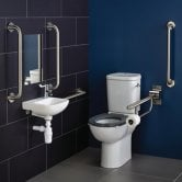 Armitage Shanks Contour 21 Doc M Pack with Close Coupled Toilet and Stainless Steel Rails - Left Handed