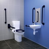 Armitage Shanks Contour 21+ Doc M Pack with Close Coupled Toilet and Blue Rail - Right Handed
