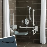 Armitage Shanks Contour 21 Shower Room Doc M Pack with Grab Rail - Charcoal
