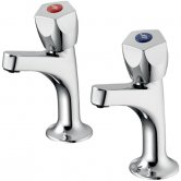 Armitage Shanks Sandringham 21 Kitchen Sink High Neck Pillar Taps - Chrome